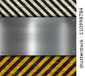 metal sign with warning stripes | Shutterstock . vector #110998784