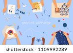 horizontal banner with hands... | Shutterstock .eps vector #1109992289