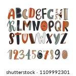 childish hand drawn latin font... | Shutterstock .eps vector #1109992301