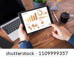 businessman using tablet... | Shutterstock . vector #1109999357
