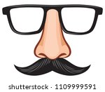 glasses and nose with mustache... | Shutterstock .eps vector #1109999591