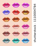 colorful lips collection. mouth ... | Shutterstock .eps vector #1110004784