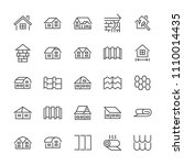 roofing flat line icons. house... | Shutterstock .eps vector #1110014435