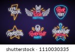 rock neon signboard set. let's... | Shutterstock .eps vector #1110030335