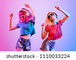 dj girl with pink blond fashion ... | Shutterstock . vector #1110033224