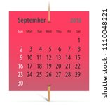 calendar for september 2018 on... | Shutterstock .eps vector #1110048221