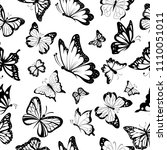 seamless pattern of butterflies | Shutterstock .eps vector #1110051011