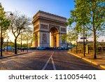 paris arc de triomphe ... | Shutterstock . vector #1110054401