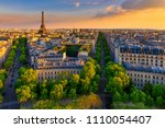 skyline of paris with eiffel... | Shutterstock . vector #1110054407