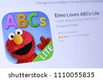Small photo of JEMBER, EAST JAVA, INDONESIA, JUNE 11, 2018. Elmo Loves ABCs Lite app in play store. close-up on the laptop screen.