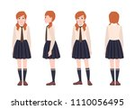 young redhead girl dressed in... | Shutterstock .eps vector #1110056495