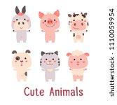 Vector Cute Animals Set  Piggy  ...