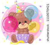 cute little teddy bear with... | Shutterstock .eps vector #1110070421