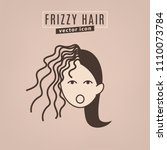 frizzy hair icon. hair problems ... | Shutterstock .eps vector #1110073784