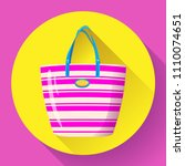 beach bag icon flat isolated on ...   Shutterstock .eps vector #1110074651