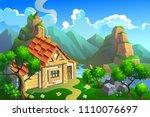 wooden house in mountians.... | Shutterstock .eps vector #1110076697