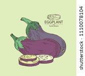 eggplant  full eggplant  a... | Shutterstock .eps vector #1110078104