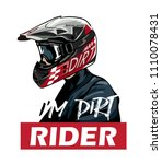 dirt rider in helmet... | Shutterstock .eps vector #1110078431