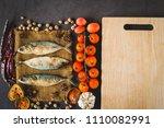 fresh tuna fish on sack with...   Shutterstock . vector #1110082991
