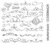 hand drawn flourish elements ... | Shutterstock .eps vector #1110086624