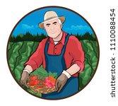 farmer in field  vector... | Shutterstock .eps vector #1110088454