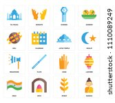 set of 16 icons such as buddha  ...