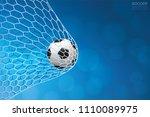 soccer football ball in goal...   Shutterstock .eps vector #1110089975