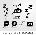 set of zzz sleep icon. vector... | Shutterstock .eps vector #1110096281