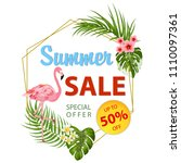 summer sale banner with... | Shutterstock .eps vector #1110097361