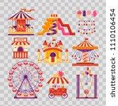 amusement park flat elements... | Shutterstock .eps vector #1110106454