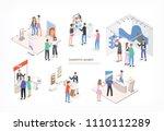 people walking among commercial ...   Shutterstock .eps vector #1110112289