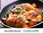 roasted chicken legs with... | Shutterstock . vector #111011354