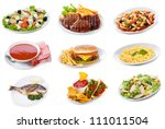 set with  plates of various... | Shutterstock . vector #111011504