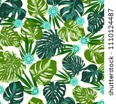 monstera leaves and gerbera...   Shutterstock .eps vector #1110124487