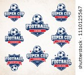 collection of generic football... | Shutterstock .eps vector #1110125567