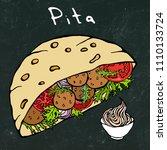 black board background. falafel ... | Shutterstock .eps vector #1110133724