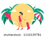 woman traveler with suitcase on ... | Shutterstock .eps vector #1110139781