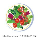 salad on a plate  flat style ... | Shutterstock .eps vector #1110140135