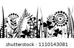 spring black grass silhouette...   Shutterstock .eps vector #1110143081