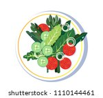 salad plate isolated on white... | Shutterstock .eps vector #1110144461