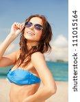 picture of happy woman in... | Shutterstock . vector #111015164