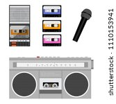 retro outdated portable stereo... | Shutterstock .eps vector #1110153941