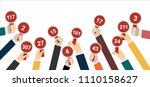 hands holding auction paddle. | Shutterstock .eps vector #1110158627