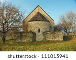 medieval chapel on a hill at fall, near Budapest, Hungary - stock photo