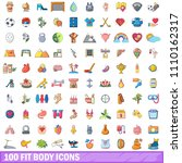 100 fit body icons set. cartoon ... | Shutterstock . vector #1110162317