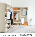 room with wooden shelves and... | Shutterstock . vector #1110162974
