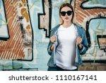 girl wearing t shirt and cotton ... | Shutterstock . vector #1110167141