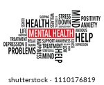 mental health words background | Shutterstock .eps vector #1110176819