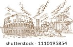 panoramic view on the ancient... | Shutterstock .eps vector #1110195854