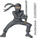 ninja cartoon isolated on white ... | Shutterstock .eps vector #1110195857